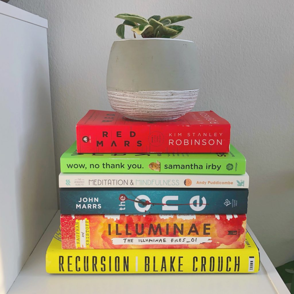 stack of books that i've read halfway through 2020