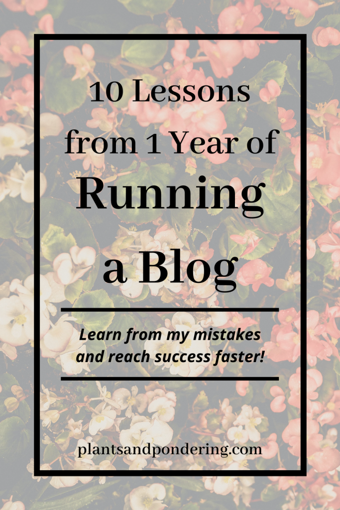 pinterest graphic for 10 lessons from one year of blogging
